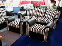 Sriped Seating. Beautiful designs of sofas with striped designs Stock Photos