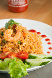 Sriracha Fried Rice with Shrimp Stock Photography