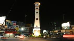 SRIRACHA, THAILAND - NOVEMBER 24 : Time lapse of Sriracha clock tower at night on November 24, 2016 in Sriracha, Chonburi, Thailan stock video footage