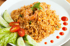 Srirachagarnalen Fried Rice Royalty-vrije Stock Foto