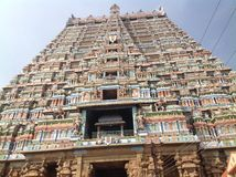 Srirangam Temple Tower. The tallest temple tower in India. It is located on the banks of Cauvery river at Srirangam, a temple town hardly 3 Kms from royalty free stock photography