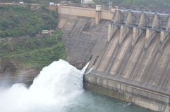 Srisailam dam, Andhra Pradesh, India. Srisailam dam monsoon view, Andhra Pradesh, India royalty free stock photo