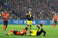 Srna and Lewandowski during a Champions League match Stock Images