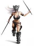Srogi orężny żeński barbarzyńcy wojownika bieg w bitwę na odosobnionym białym tle royalty ilustracja