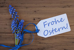 Srping Grape Hyacinth, Label, Frohe Ostern Means Happy Easter Royalty Free Stock Image
