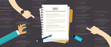SRS Software Requirements Specification computer information technology IT. Vector Royalty Free Stock Images