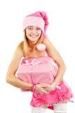 Srta. Santa con el regalo Foto de archivo libre de regalías