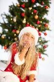 Srta. santa con nieve Fotografía de archivo