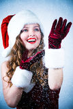 Srta. Santa que mira la nieve Foto de archivo
