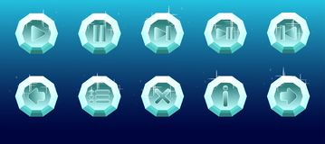 Set of crystal button icons vector illustration