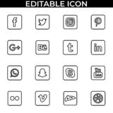 Simple set of social media fill and line vector icon stock illustration