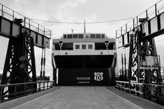 SS Badger In Ludington Michigan. Ludington, Michigan, USA - October 19, 2013: Stern of the SS Badger auto ferry at it's home port of Ludington, Michigan. The SS Royalty Free Stock Photography