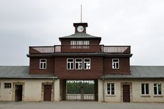 """Gate of Buchenwald Concentration Camp. In 1937, the SS build a concentration camp just a few kilometres from Weimar. The camp's name – """"Buchenwald"""" – Royalty Free Stock Photography"""
