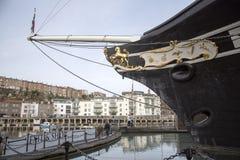 SS Groot-Brittannië de boog van dit historische schip in Bristol het UK Stock Foto