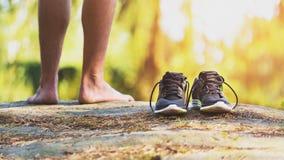 Ss kraju biegacz i buta szczegół, iść na piechotę Fotografia Stock
