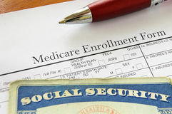 SS and med. Social Security card and Medicare enrollment form Stock Photography