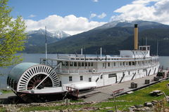 SS Moyie National Historic Site in Kaslo, British Columbia. The SS Moyie is an old Canadian Pacific Railroad paddlewheeler on Kootenay Lake that is protected as Royalty Free Stock Photos