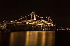 SS Rotterdam nocą przy Katendrecht quay zdjęcia stock