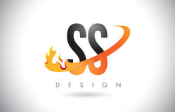 SS S S Letter Logo with Fire Flames Design and Orange Swoosh. SS S S Letter Logo Design with Fire Flames and Orange Swoosh Vector Illustration Royalty Free Stock Images