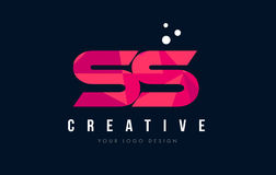 SS S S Letter Logo with Purple Low Poly Pink Triangles Concept. SS S S Purple Letter Logo Design with Low Poly Pink Triangles Concept stock illustration