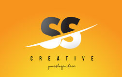 SS S S Letter Modern Logo Design with Yellow Background and Swoo. SS S S Letter Modern Logo Design with Swoosh Cutting the Middle Letters and Yellow Background Stock Images