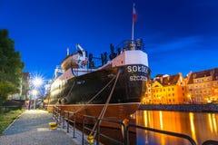 SS SOLDEK na Motlawa rzece w Gdańskim SS SOLDEK są pierwszy statkiem budującym w Polska Zdjęcia Stock