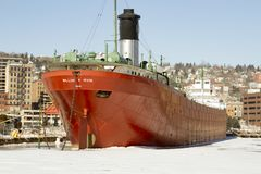SS William A Irvin ship museum in Duluth, Minnesota. Duluth, Minnesota, USA - February 11, 2018:  SS William A Irvin lake ship museum in frozen harbor in Duluth Royalty Free Stock Photo