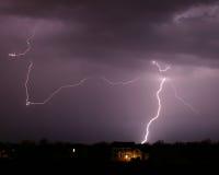 SS142 Lightning Bolt Sky Clouds Stock Photo