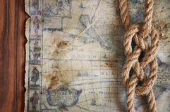 Ssailor knot and old map Royalty Free Stock Photos