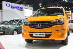 从Ssangyong在第35个曼谷国际汽车展示会,在驱动的概念秀丽的新的Stavic 2014年3月27日在曼谷, 免版税图库摄影