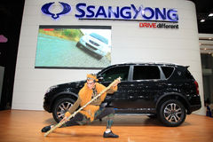 Ssangyong Rexton with monkey god, Sun Wukong, model Royalty Free Stock Image