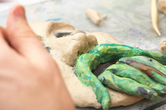 Ssculpting with plasticine Royalty Free Stock Photos