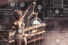 Ssculpture of Themis close up. Symbol justice scales of justice criminal law white background isolated Royalty Free Stock Image