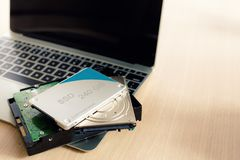 SSD and Laptop,solid state drive with sata 6 gb connection.  Stock Image