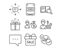 Ssd, Search book and Special offer icons. Sms, Blog and Business growth signs. Set of Ssd, Search book and Special offer icons. Sms, Blog and Business growth Stock Photo