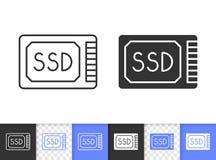 Ssd simple black line vector icon stock illustration