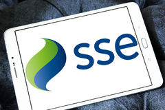 Sse energy company logo. Logo of energy and home services company sse on samsung tablet stock photography