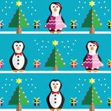 SSeamless-Muster mit geometrischem Herrn und Frau Penguin, Geschenke mit Band, Schnee, Weihnachtsbäumen mit rosa Lichtern und Ste Stockbild