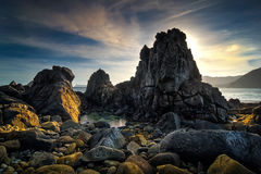 SSeascape zmierzchu sceneria przy Lombok plażą, Nusa Tenggara, Indonezja Fotografia Royalty Free