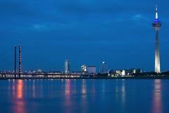 ¼sseldorf för natt DÃ Royaltyfria Foton