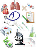 Sset de los objetos de la medicina. Imagenes de archivo
