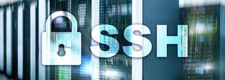 SSH, protocole sûr de Shell et logiciel Protection des données, Internet et concept de télécommunication image stock