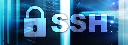 SSH, protocole sûr de Shell et logiciel Protection des données, Internet et concept de télécommunication images stock