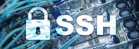 SSH, protocole s?r de Shell et logiciel Protection des donn?es, Internet et concept de t?l?communication photographie stock libre de droits