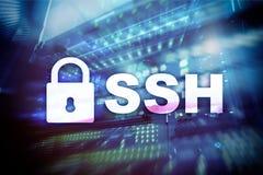 SSH säkrar det Shell protokollet och programvara Begrepp för dataskydd, internet- och telekommunikation royaltyfri bild