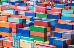 Sshipping container yard closeup stock images
