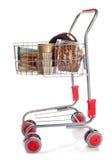 Sshopping cart full of dog food Stock Photos