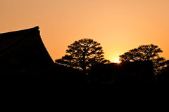 SSilhouette of Japanese tradition building Royalty Free Stock Photo