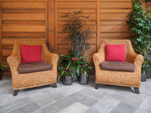 SSitting area with wicker chairs Stock Photography