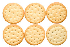 Ssix crackers. Six crackers on a white background Royalty Free Stock Photography